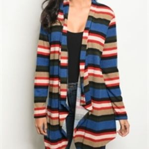 NWT drape front loose fit striped knit cardigan